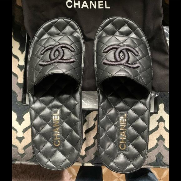 Chanel Lambskin Black Mules